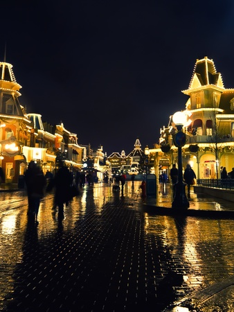 Disneyland Paris, March 04 2012, Main street USA at night time