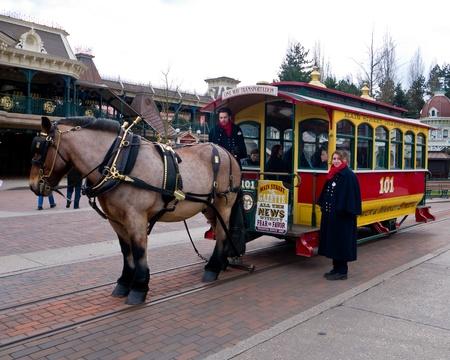 A horse drawn tram at Disneyland Paris, March 2012 Editorial