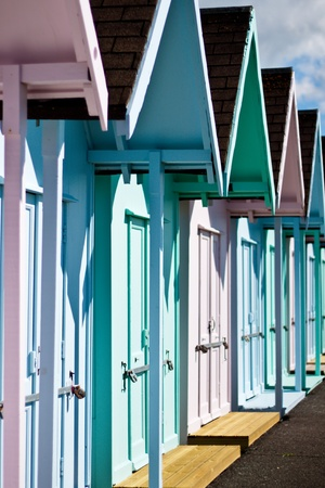 Beach huts in a row, Southsea, Portsmouth, England, April 2012 Editorial