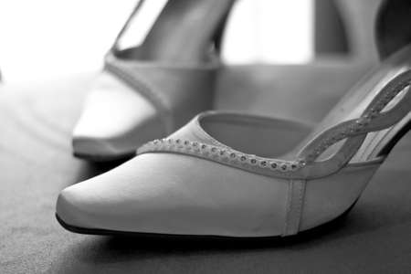 Wedding shoes in Black and White photo