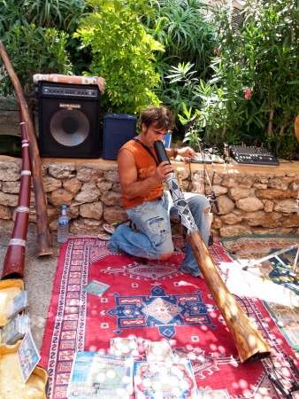 Modern Didgeridoo player, Es Cana, Ibiza, 2011