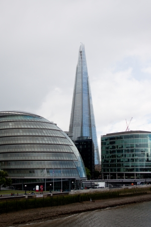 The Shard tower and London City Hall on the south bank of the river Thames, London, June 2012