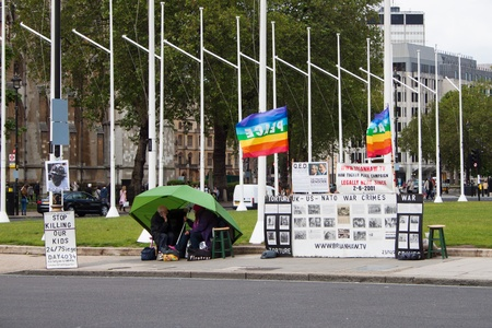 peace camp of the late Brian Haw, Westminster, London, United Kingdom, June, 2012