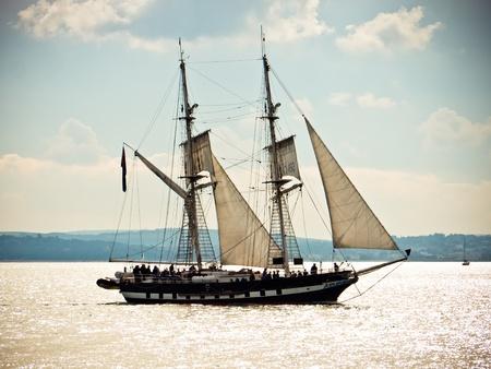 portsmouth: TS Royalist sailing on the Solent, United Kingdom