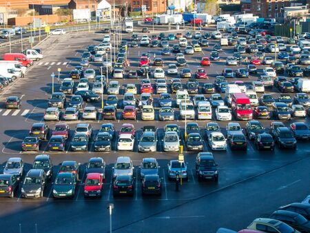 Cars parked in a car park on the site of the old Tricorn shopping centre, Portsmouth, Hampshire, England Editorial