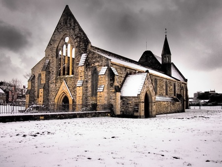 portsmouth: Royal Garrison church Portsmouth in the snow