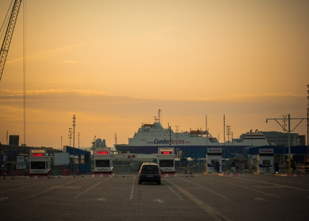 Portsmouth Continental Ferry Port, England, at sunset Editorial
