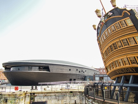 hms: The Mary Rose Museum with HMS Victory, Portsmouth, England,  Editorial
