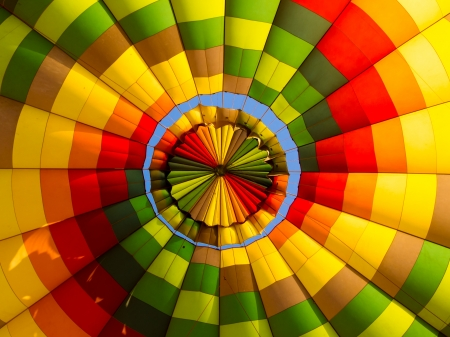 Inside of a collourful hot air balloon