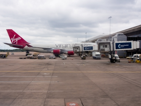 A Virgin Atlantic Airways 747 at the departure gates of Manchester Airport Editorial