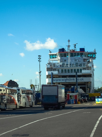 embark: Wightlink Portsmouth to Isle of wight ferry port, Portsmouth, England Editorial
