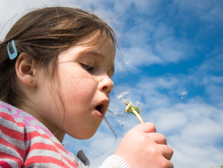 young girl blowing a dandelion against a blue sky