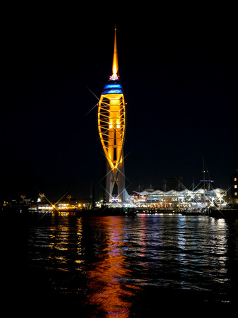 Spinnaker tower in Portsmouth, England, at night