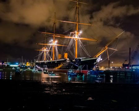 HMS Warrior at night