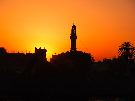 A minaret at sunset in Egypt