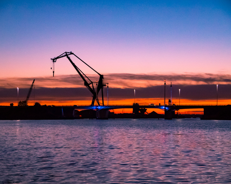 sunset over portsmouth harbour and the M275