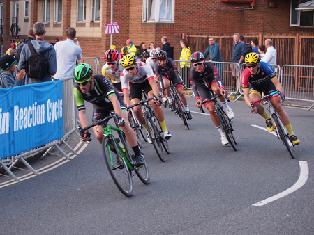 Portsmouth, UK, 09 June 2016. Cyclists compete in the final round of the Pearl Izumi Tour Series, held in Portsmouth. The series consists of one hour and five laps of sprint cycle racing around various city circuits in the UK. Editorial