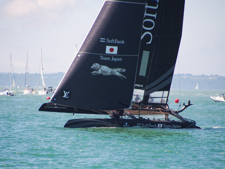 Portsmouth, England 23 July 2016. Softbank Team Japan race for position during the first day of racing in the Americas Cup World Series, in the Solent.