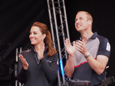 The Duke and Duchess of Cambridge applaud the competing  teams as they prepare to present the prizes to the winning teams of  The Americas Cup World Series in Portsmouth. Editorial