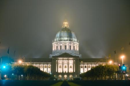 Front shot of San Francisco city hall at night photo