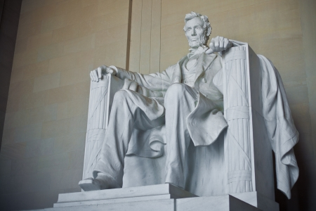 historical landmark: Left side view of Lincoln Memorial in Washington DC, USA Stock Photo