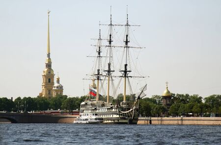 Sailing ship in front of Peter and Paul s Fortress