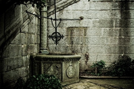 The old well with a cross in the Livadia Palace, Yalta, Crimea