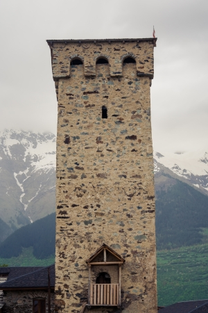 mestia: Famous defensive tower in Mestia, the capital of Svaneti, Georgia, Caucasus.
