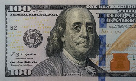 Upset sad crying president Franklin on the one hundred dollar banknote. Concept of financial crisis, economic problems