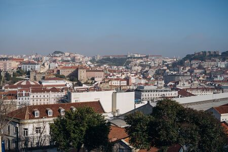 Beautiful cityscape panorama. Top view on the old town during the sunny day in Lisbon city, Portugal