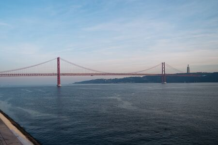 The '25 of April' Bridge or ponte 25 de abril in Lisbon, Portugal. Reklamní fotografie