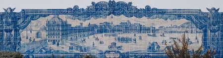 LISBON, PORTUGAL - JANUARY 2, 2020. Panorama of the Palace Square 'Terreiro do Paco' hand painted on azulejo tiles on the side wall of Santa Luzia Church, near Viewpoint Miradouro de Santa Luzia Redakční