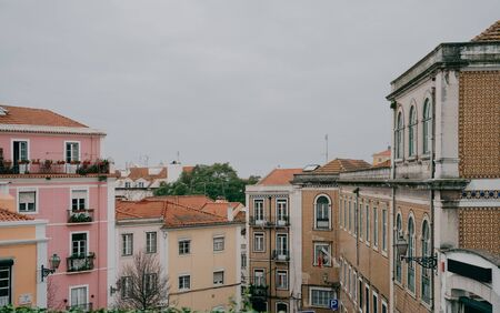 Beautiful cityscape panorama. View on the old town during the day in Lisbon city, Portugal
