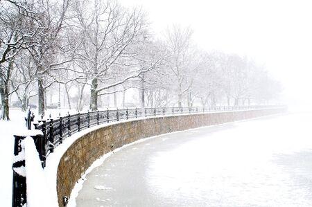 Kronverk embankment and Kamennostrovski Prospekt in Saint Petersburg at snowfall. Stock Photo