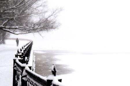 Kronverk embankment in Saint Petersburg at snowfall - 2. Stock Photo