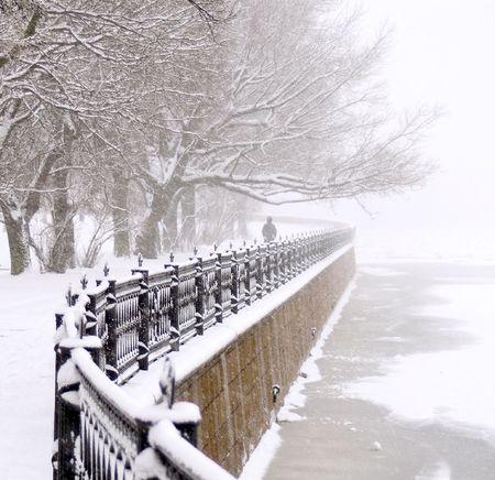 The Kronverk embankment in Saint Petersburg at snowfall.