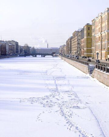 Fontanka embankment - 1 - Fontanka embankment near the Obukhovsky bridge in Saint Petersburg. Stock Photo