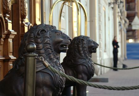 Lion Sculptures at the entrance of a hotel. Stock Photo