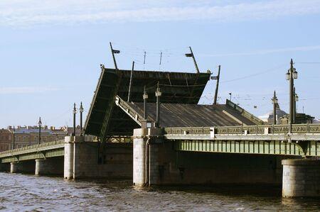 Schmidts Bridge - 2 - Raising the Schmidts Bridge over Neva river in Saint Petersburg.