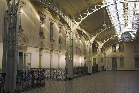 Railroad station hall - 1 - The Vitebsk Railroad Stations hall in Saint Petersburg. Stock Photo
