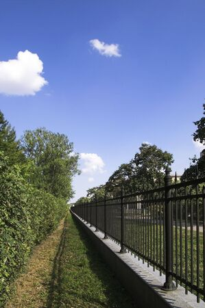 Iron Fence in Summer Park Stock Photo