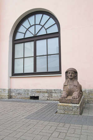 Little Sphinx - An Egyptian Sphinx at a backyard entrance of Stroganoffs Palace, an old-time building, in Saint Petersburg, Russia.