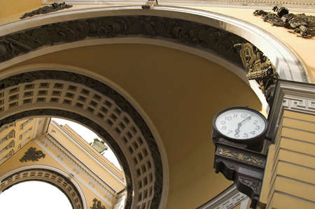 Public Clocks - Old-style  public clocks under the General Army Staff Building Arch in Saint Petersburg, Russia.