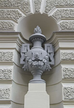 Decorative Vase Standing in Niche By Building Wall