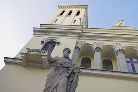 Saint Peters Sculpture at the front of the German Evangelic Lutheran Church in Saint Petersburg, Russia.