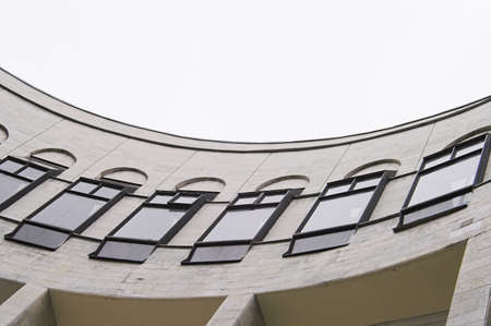 Curved Gallery Building of Library Archives Stock Photo