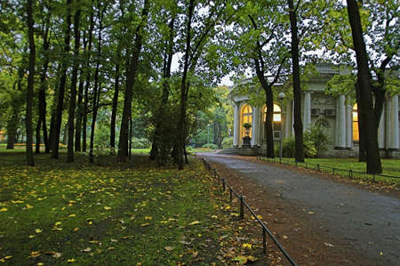 Palace in Park - 1 - A palace in an early autumn park at evening in Saint Petersburg, Russia.