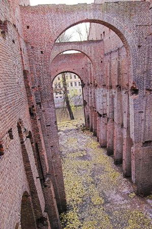 Ruins - 2 - of Ancient Buildings on the New Holland Island in Saint Petersburg, Russia. Stock Photo