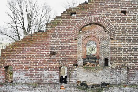 Ruins of Ancient Buildings on the New Holland Island in Saint Petersburg, Russia. Stock Photo