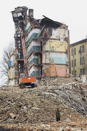 slums: Destruction of Old Apartment Buildings
